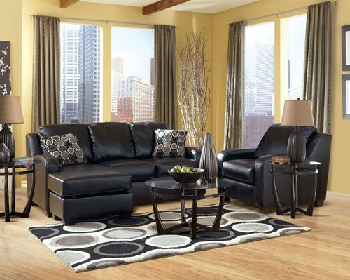 Best Rent Furniture Ashley Devin Durablend Black Sectional 400 x 300