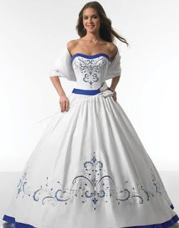 Cobalt Blue Accent Wedding Dresses Dress 5 Gowns With Color Accents
