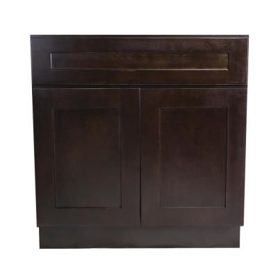 Design House Brookings Plywood Assembled Shaker 33x34 5x24 In 2 Door Sink Base Kitchen Cabinet In Espresso Brown Base Cabinets Kitchen Base Cabinets House Design