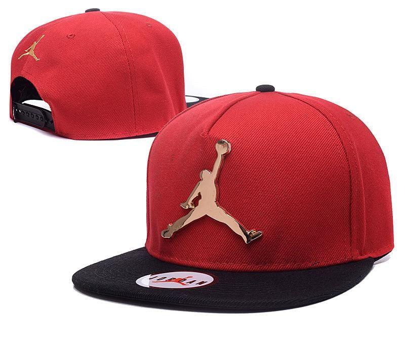 63c829abeb51c Mens Air Jordan The Jumpman Iron Gold Metal Logo A-Frame 2016 Big Friday  Deals Snapback Cap - Red   Black
