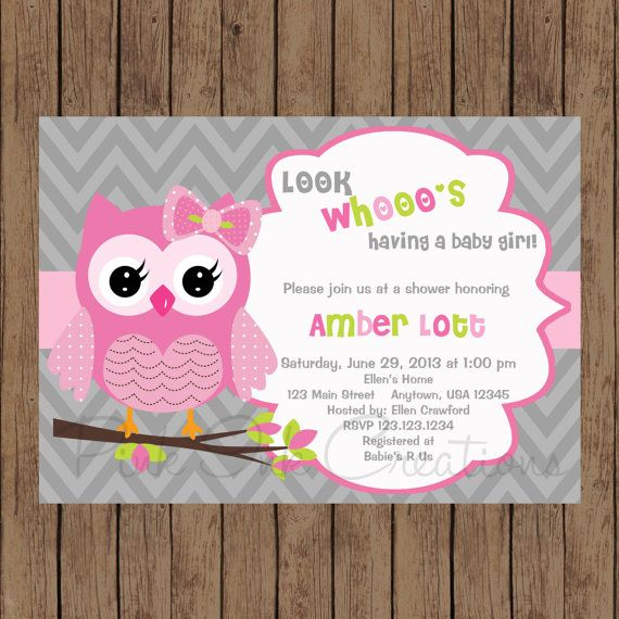Owl Birthday Invitation Pink Gray Owl Baby Shower Invitation Owl