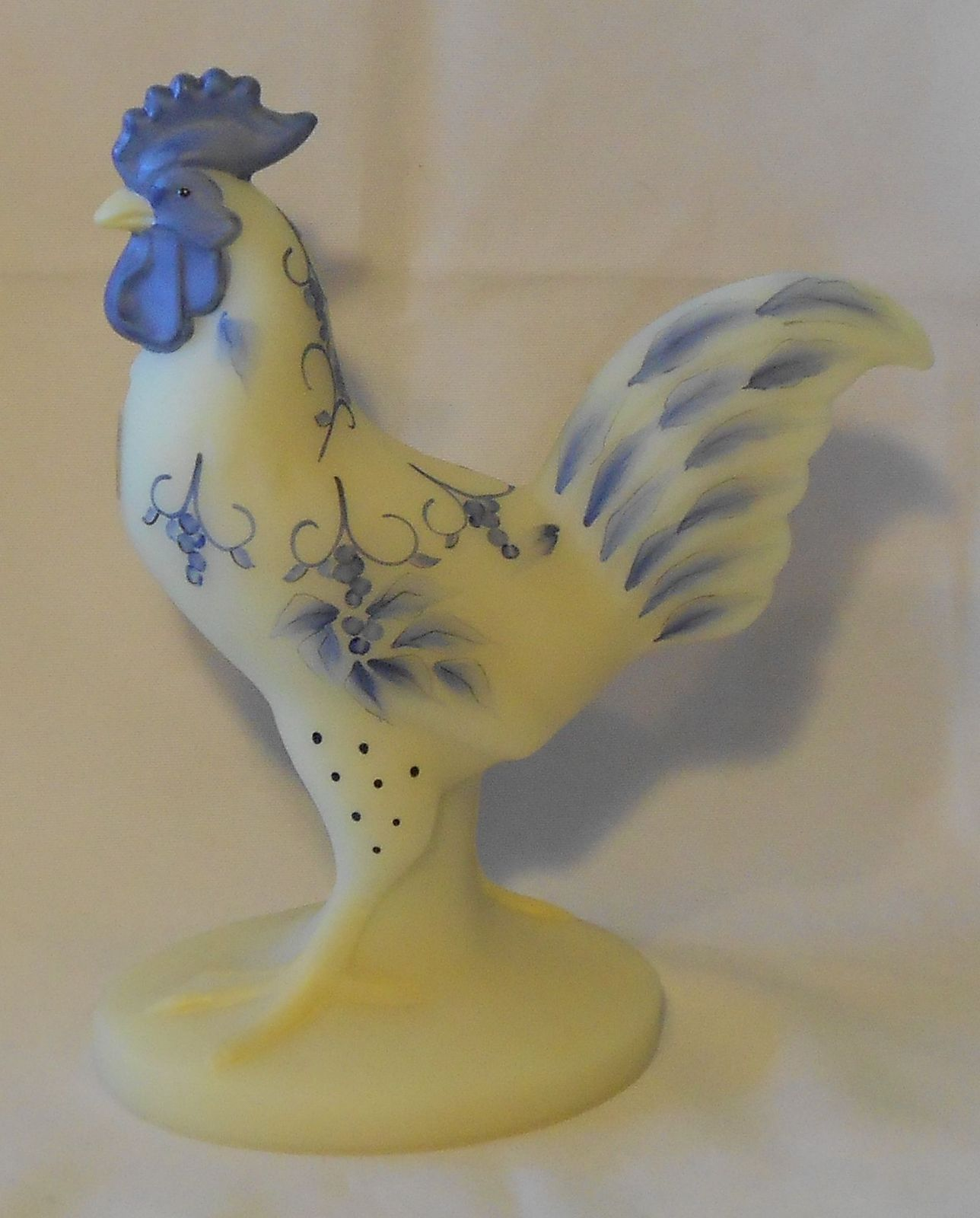 Fenton Art Glass Blue Toile Standing Rooster | Glass Glass ...