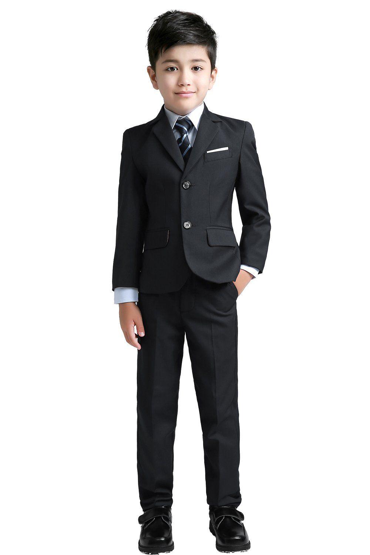 6a06d30c4 Yuanlu Boys Suits With Blazer Pants Vest Shirt and Tie Kids Suit For ...