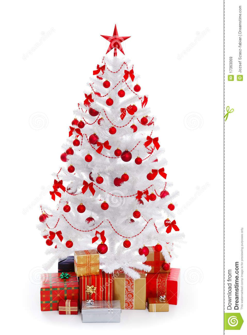 Christmas Tree White With Gifts And Red Decoration