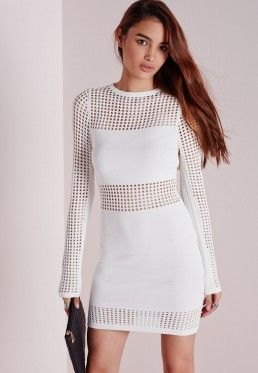 Mesh Panel Knitted Bodycon Dress White