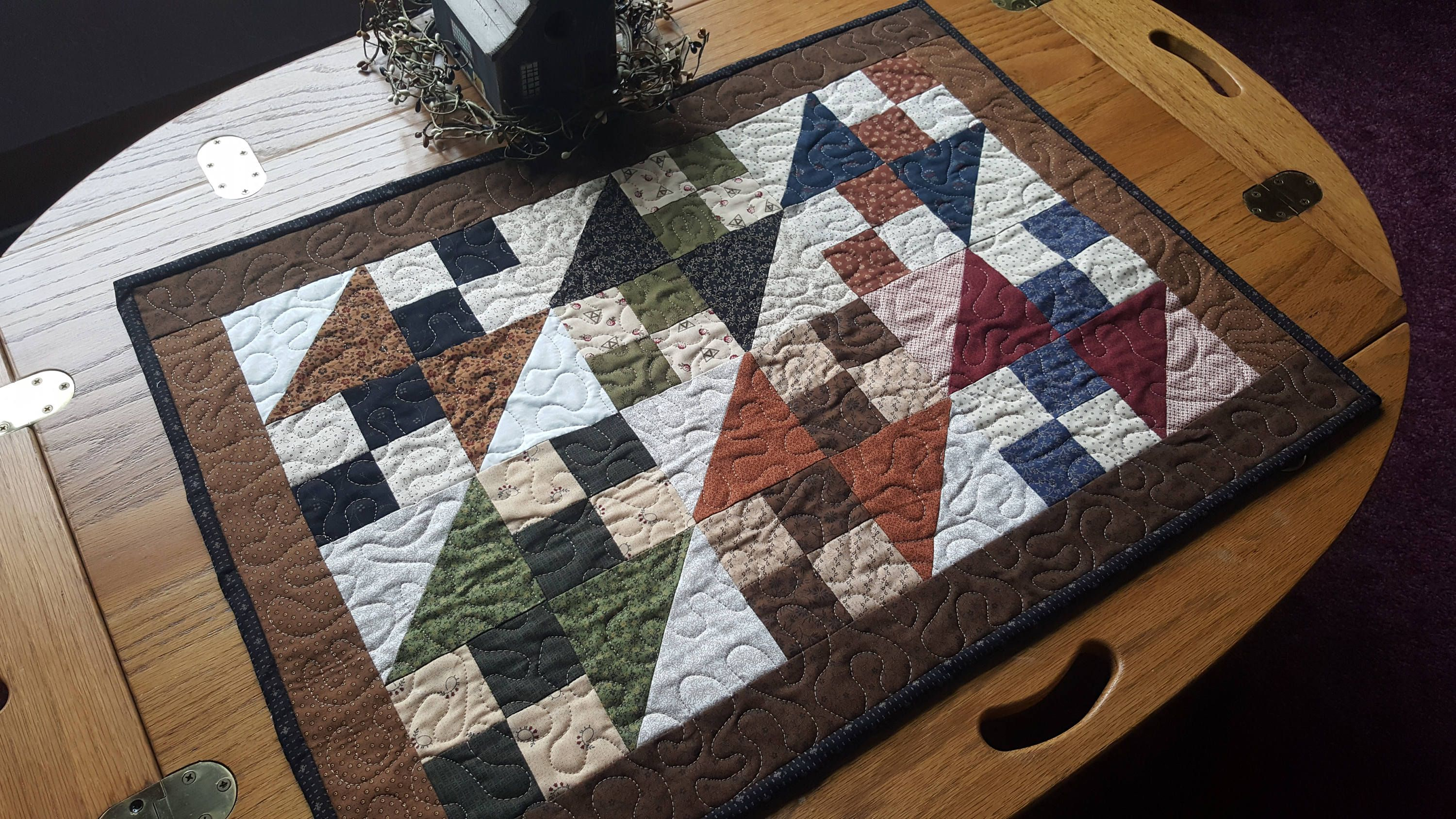 Quilted Table Topper, Country Table Topper, Patchwork Table Topper,  Handmade, Primitive,
