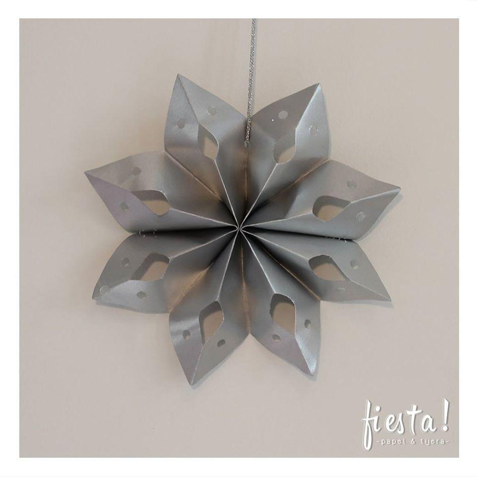 Estrella de papel 8 puntas cartulina plateada estrellas - Estrellas de papel ...