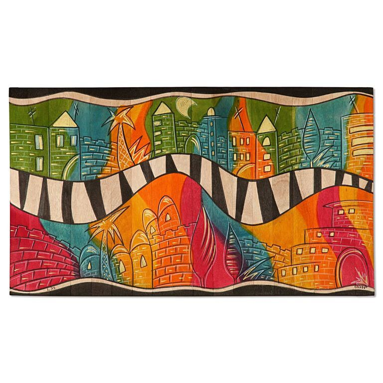 Painted Floor Mats Designs Funky Jerusalem Painted Wood Floor Mat 24 X 39 Kakadu Design Painted Wood Floors Wood Floors Floor Mats