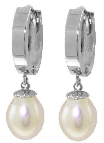 Sterling Silver Hoop Earrings Natural Pearl - 3649