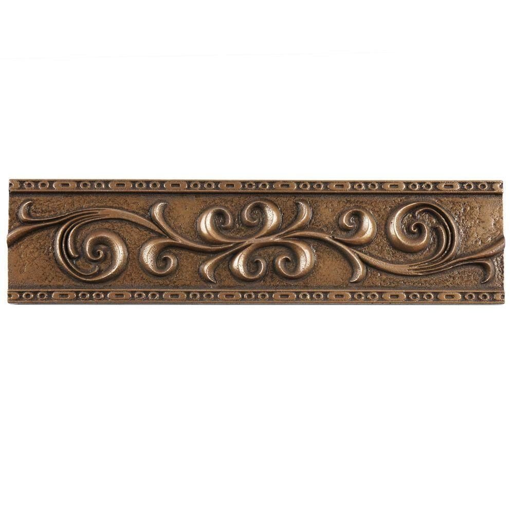 Merola Tile Contempo Bronze Scroll Liner 3 In X 12 In Mixed Material Wall Trim Tile Wgmsbrrl The Home Depot Wall Trim Tile Trim Bronze