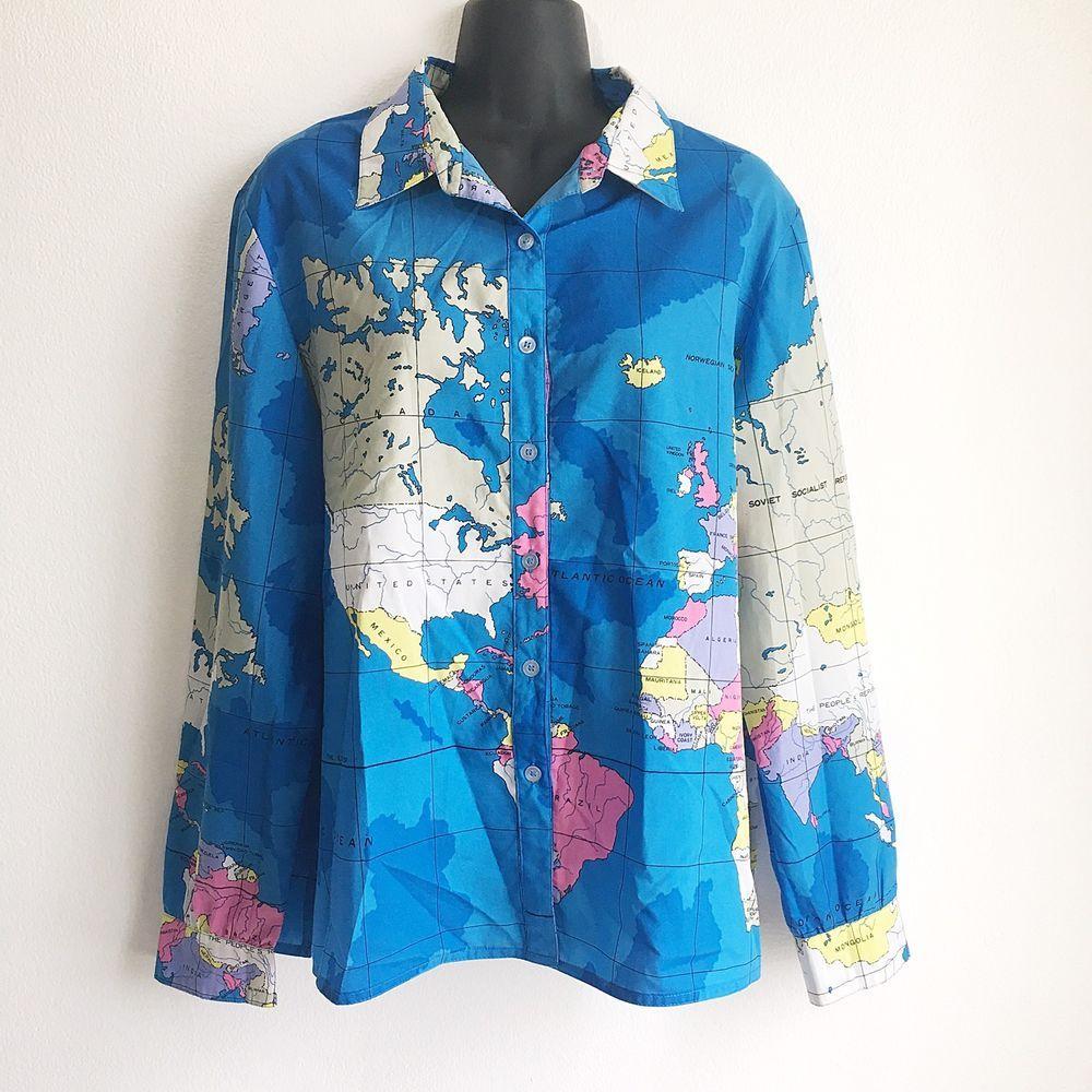 World Map Button Down Shirt.King James Vintage World Map Shirt Bright Button Down Ussr 80 S