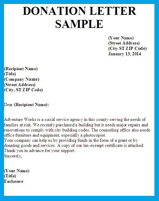 Sample Letter Asking For Donation template Pinterest Template