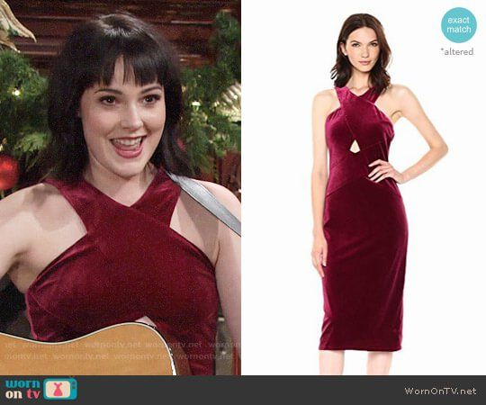 4330de511d Tessa s red velvet cross-neck dress on The Young and the Restless. Outfit  Details