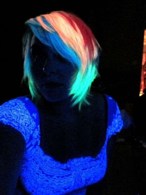 Rainbow Hair Under A Black Light I Used To Color My With Blacklight Reactive Pink But Was So Rarely Near That D Always