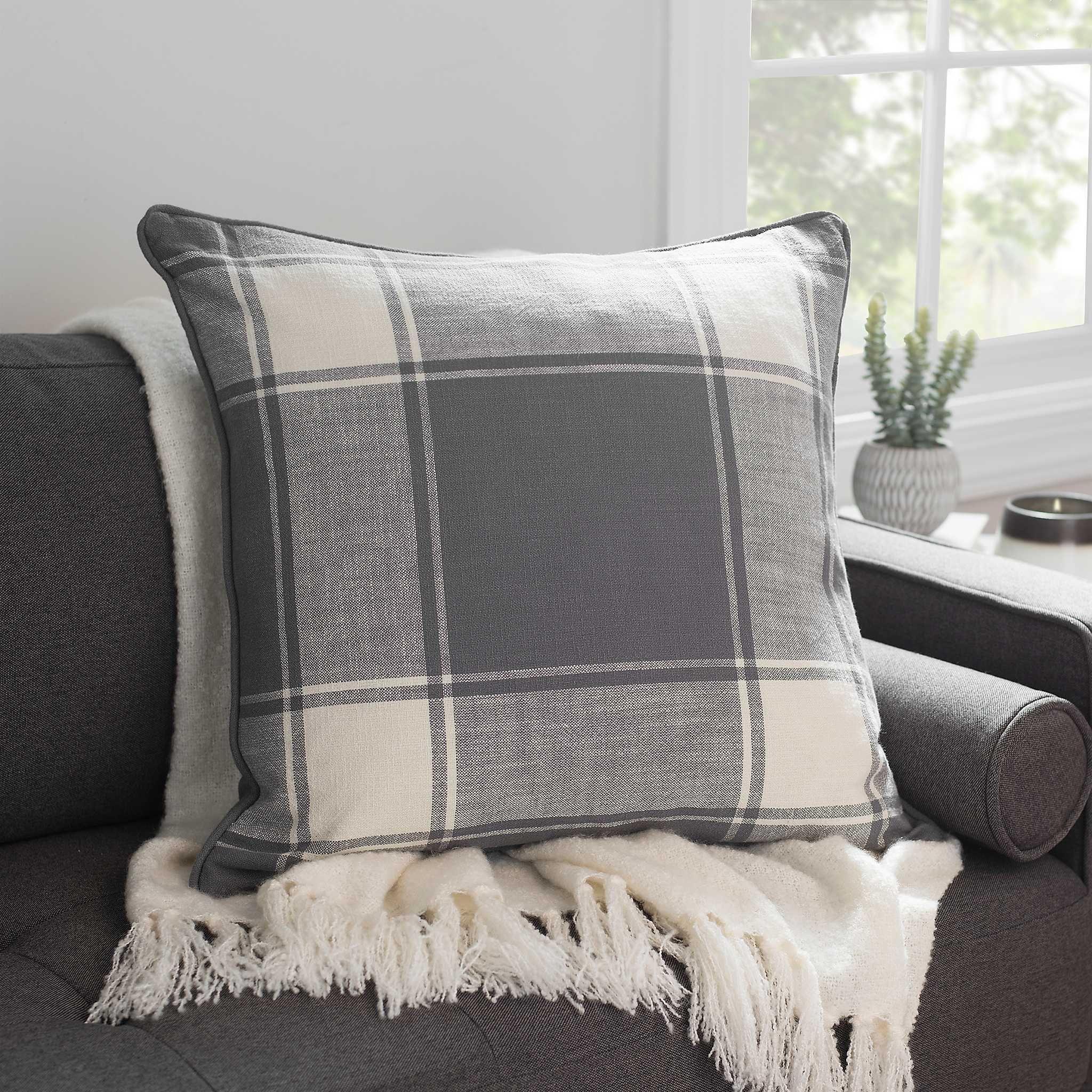 Gray large plaid pillow plaid throw pillows grey plaid
