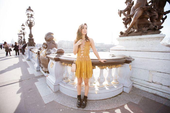 fashiontoast | 03/16/2015 golden in paris Chloé embroidered cutout dress, Drew bag, and blazer, Balenciaga boots.