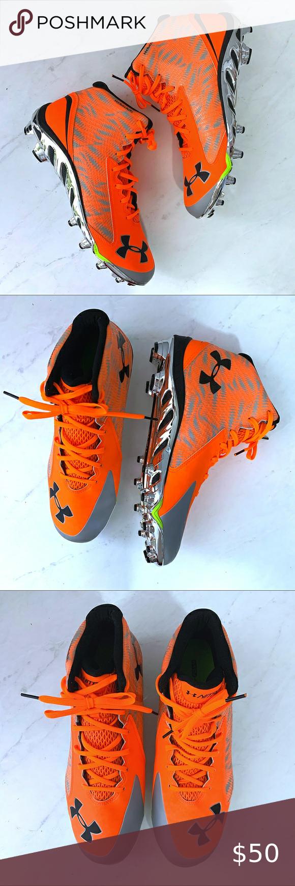 New Under Armour Neon Orange Men's Cleats New Unde