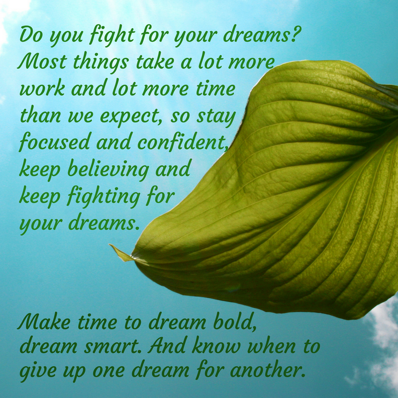 Fight for your dreams, make your dreams worth fighting for