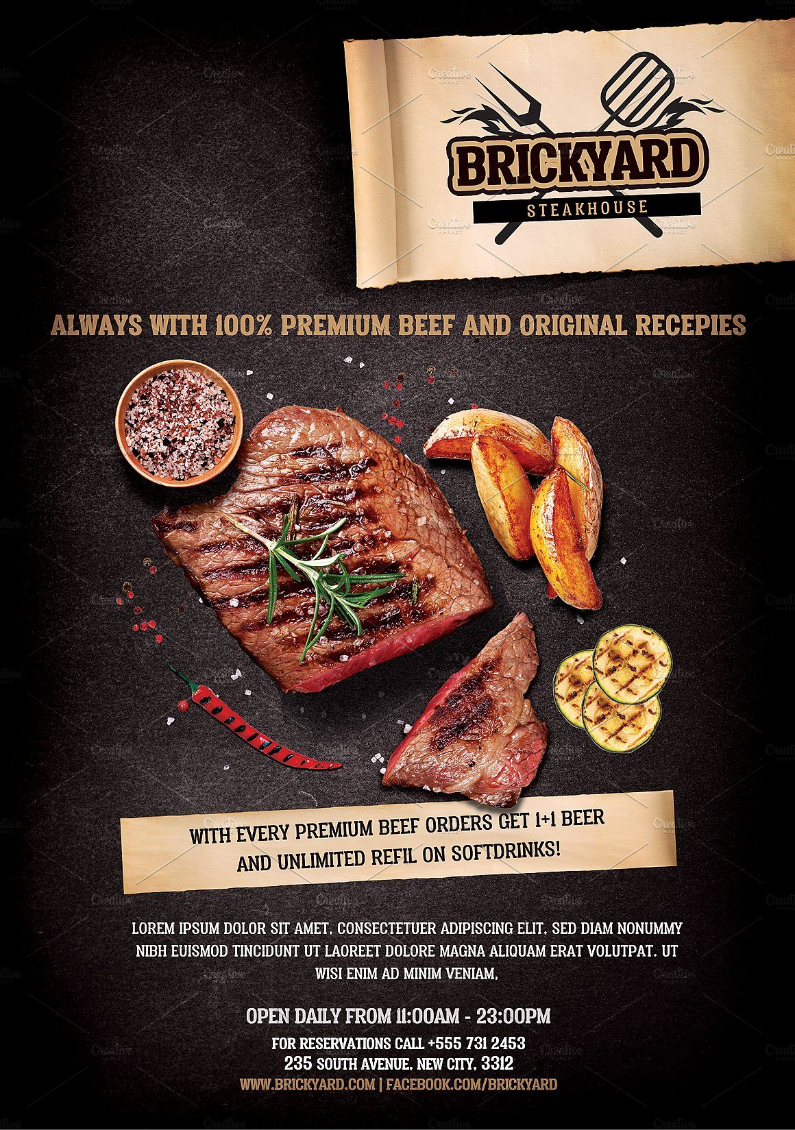Steak House Flyer Template by Hotpin on @creativemarket # ...
