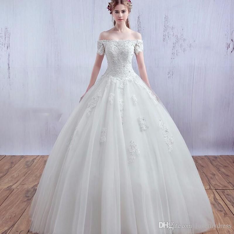 Wedding Dresses Ball Gown Off Shoulder Neck Cheap Price Lace Up Back Custom Appliques Pearls Elegant