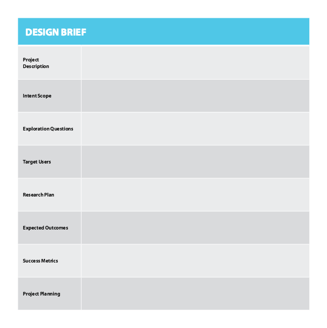 Design Brief Template From Designing For Growth By Jeanne Liedtka