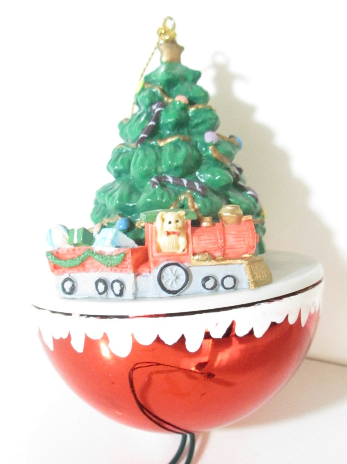 vintage chirstmas tree ornament with moving toy train christmas ornaments animated christmas decorations christmas tree 1980s by sandyleesattic on etsy