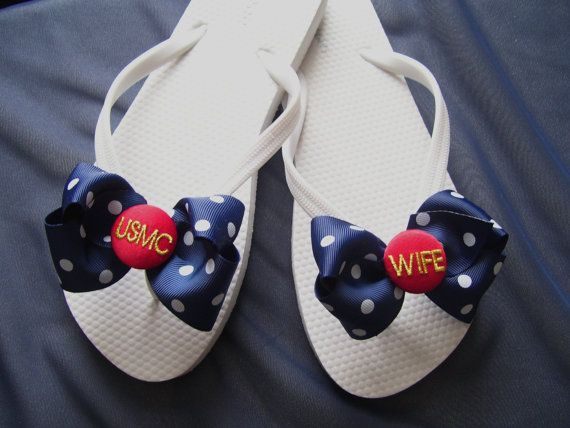 9888074fc7efd USMC WIFE Blues flip flops - Monogrammed Wedding Bridal via Etsy FOR  GETTING READY