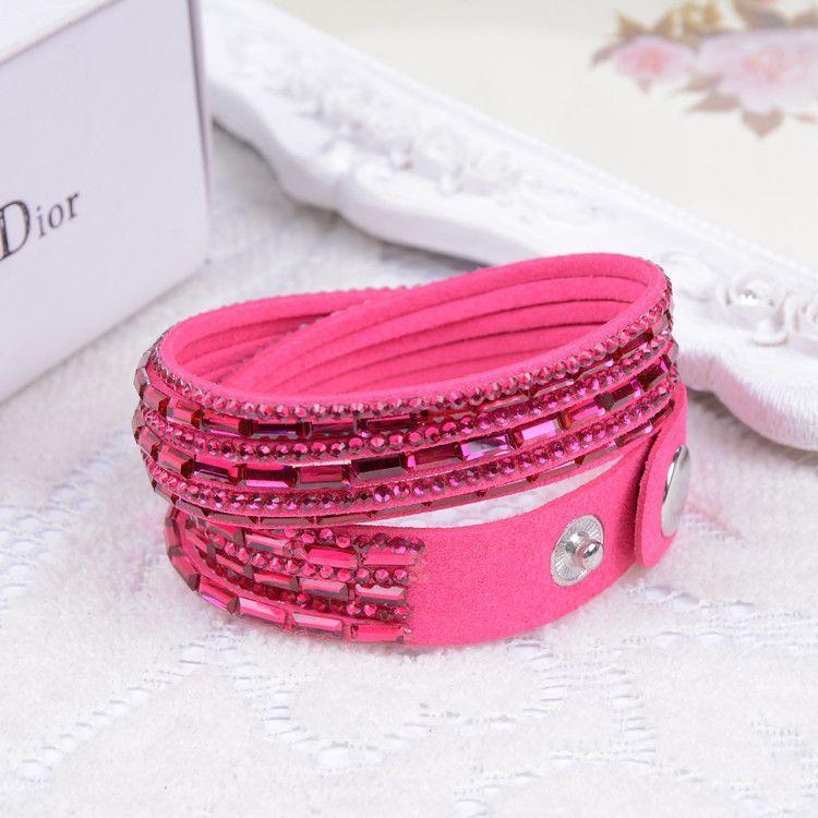 Fashion 12 Layer Leather Bracelet multicolor Charm Bracelets Bangles For Women Buttons Adjust Size
