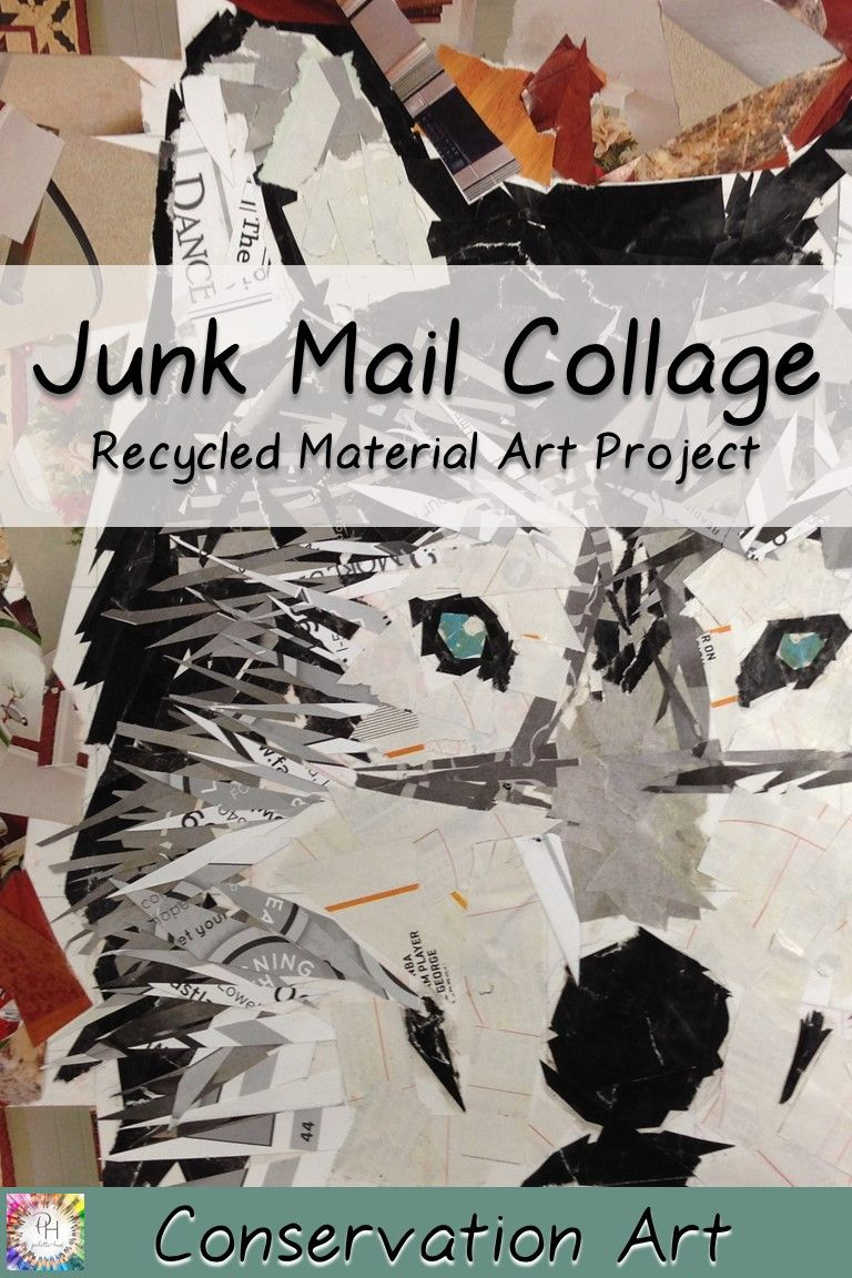 Junk Mail Collage | Recycled Material Artwork | High School Art Lesson