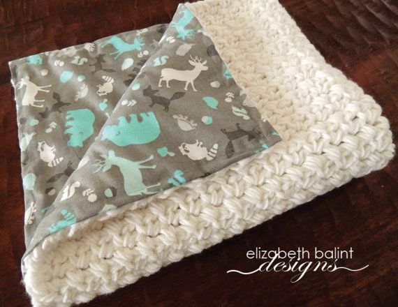 Double Sided Crochet Baby Boy Blanket With Fabric On One