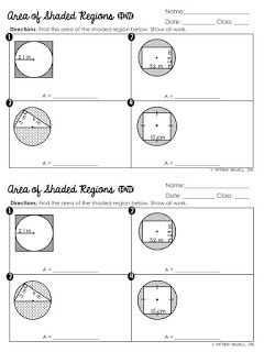 FREE Area of Shaded Regions of Circles Worksheet | Geometry ...
