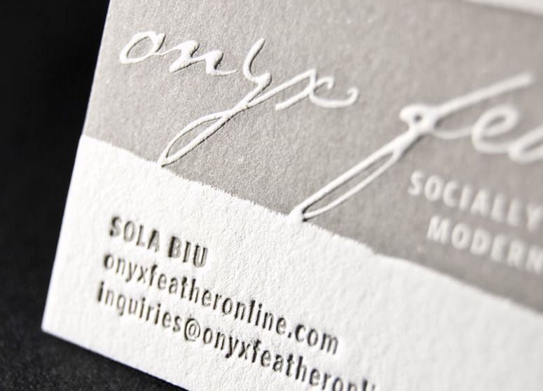 Jewelry designer onyxfeathers business card letterpress on our jewelry designer onyxfeathers business card letterpress on our lettra via ucllc sagetopia reheart Image collections