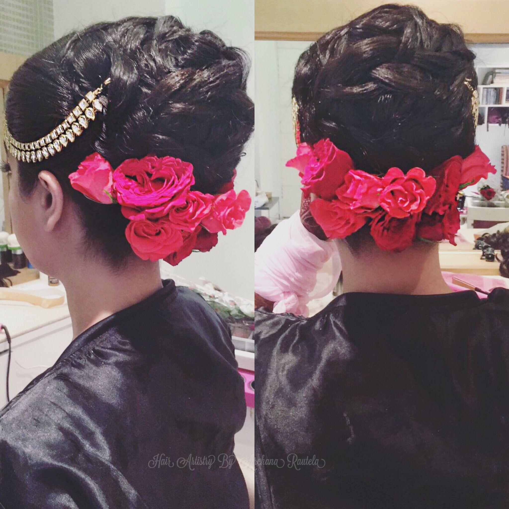 Wedding Hairs Weddingday Red Roses Hair Artistry By Archana