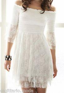 7d63c4c06254 Mini Abito Corto Bianco Pizzo Crochet Vestito Estate Primavera White Dress  Lace