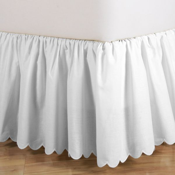 Gathered Bedskirt With Scalloped Bottom Bedskirt White Bed