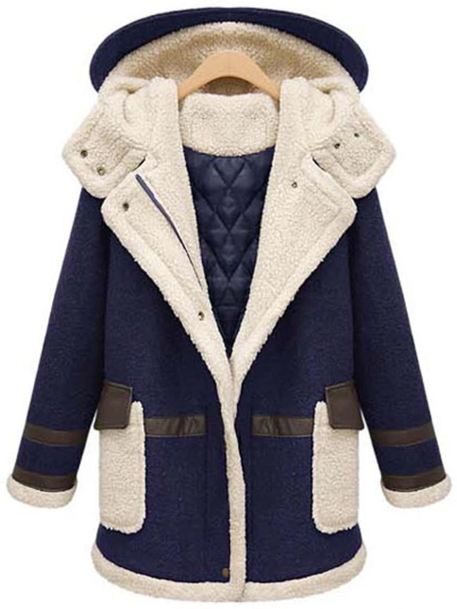 #AdoreWe #BerryLook Womens - berrylook Hooded Flap Pocket Patchwork Color  Block Coat - AdoreWe.com