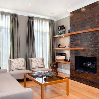 Off Center Fireplace Design Ideas Pictures Remodel And Decor Off Center Fireplace Wooden Floating Shelves Floating Shelves