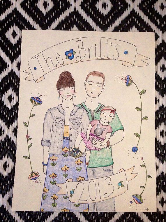 Family of 3  custom  portrait by ItsThelittlegems on Etsy, $28.00