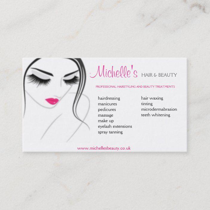 Hair Beauty Salon Business Card Design Zazzle Com Beauty Salon Business Cards Salon Business Cards Design Beauty Business Cards