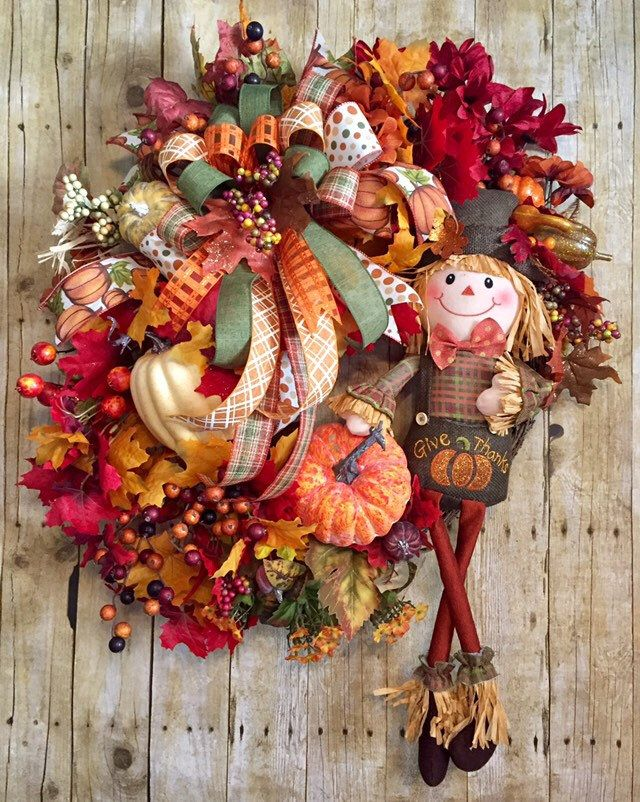 Scarecrow Wreath, Scarecrow Wreath for Front Door, Thanksgiving Wreath for Front Door, Farmhouse Scarecrow, Fall Scarecrow Wreath,Fall Wreat #scarecrowwreath