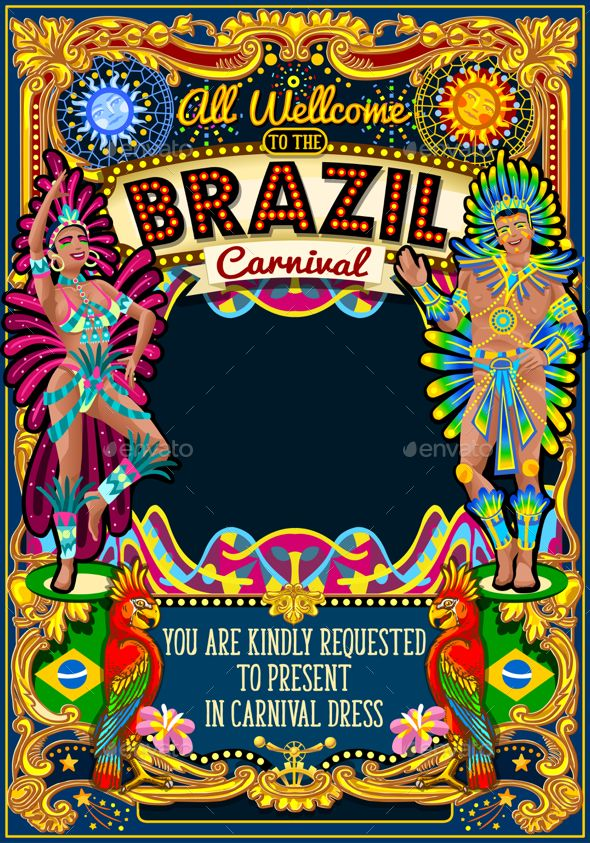 rio carnival poster theme brazil carnaval mask show parade by