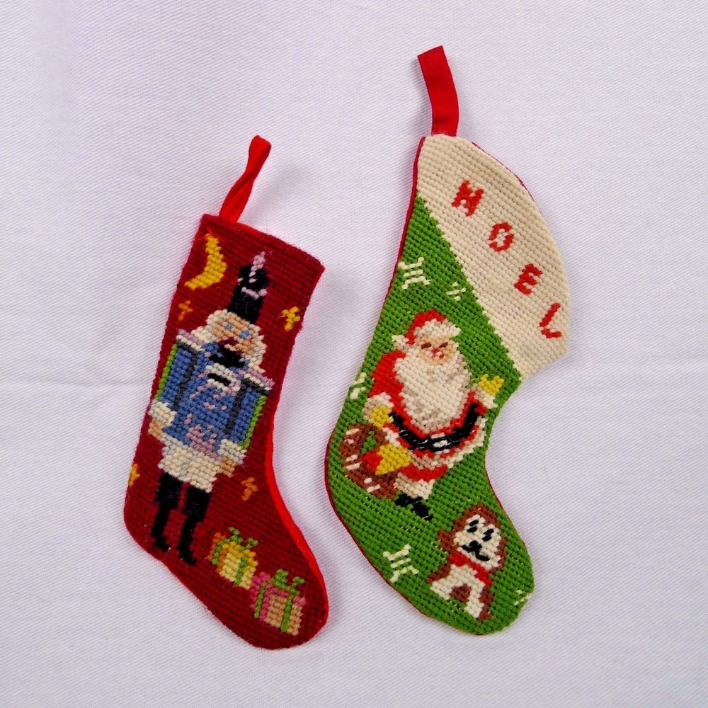 2 Miniature Needlepoint Christmas Stockings Nutcracker And