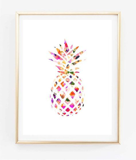 Floral Pineapple Painting Art Print Room Decor Typographic Print