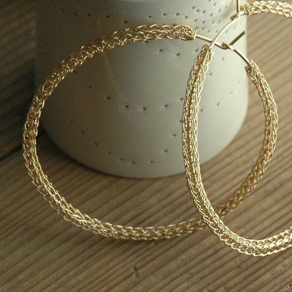 Gold Extra Large Hoop Earrings Handmade Wire Work Crocheted Jewelry Giant Hoops Uniq