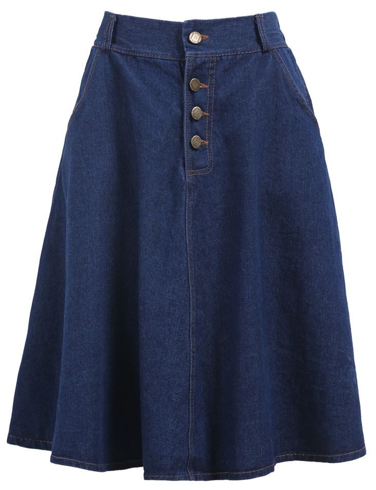 With Buttons Denim Pleated Skirt 16.00