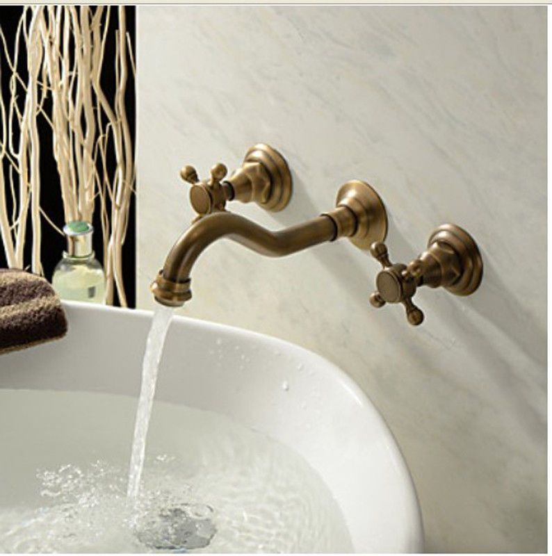 Antique Brass Bathroom Basin Faucet Widespread Wall Mount Tub Sink ...