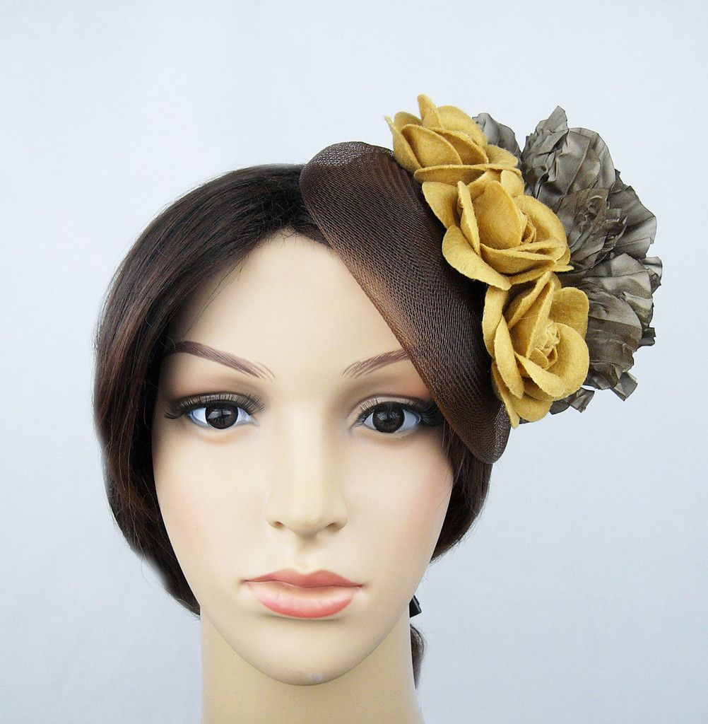 Brown Flowers Headpiece Unique Fascinator Hat Party Wedding Costume by  inatoz aa02735535f