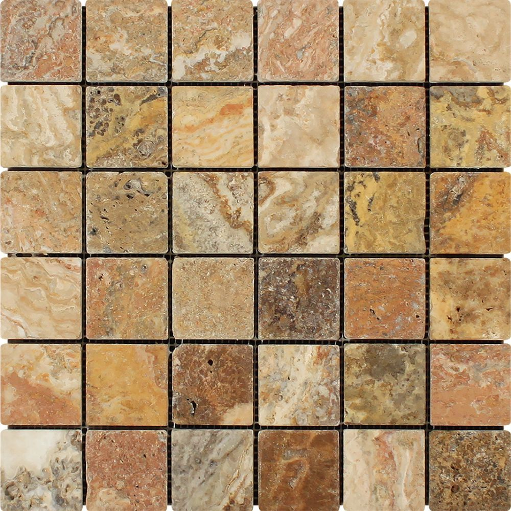 2 x 2 Tumbled Scabos Travertine Mosaic Tile in 2020