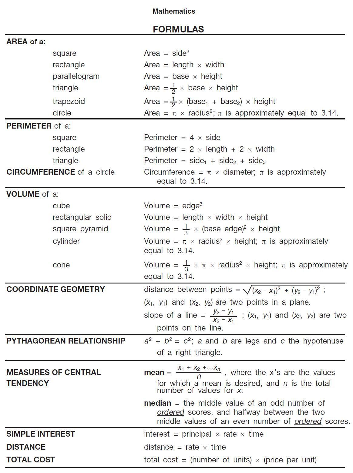 Printable Math Formula Sheet