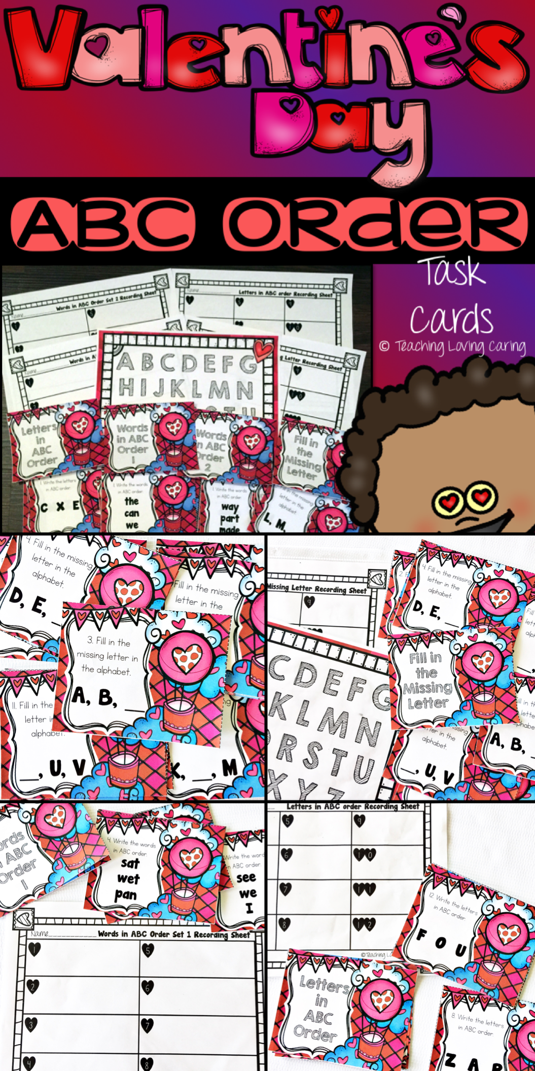 Valentine S Day Abc Order Task Card Literacy Center